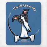 White Black Greyhound IAAM Mouse Pad