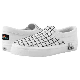 White & Black Grid Slips Ons Printed Shoes