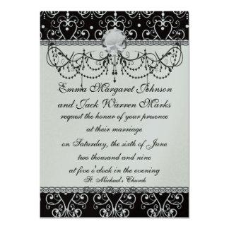 white black heart chandelier shabby damask pattern card