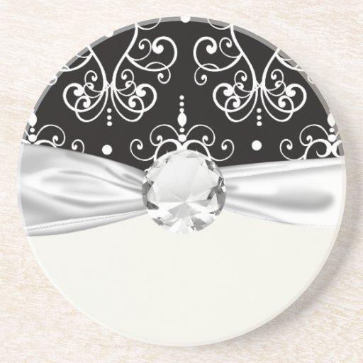 white black heart chandelier shabby damask pattern drink coasters