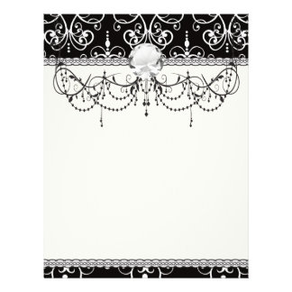 white black heart chandelier shabby damask pattern flyer