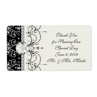 white black heart chandelier shabby damask pattern label