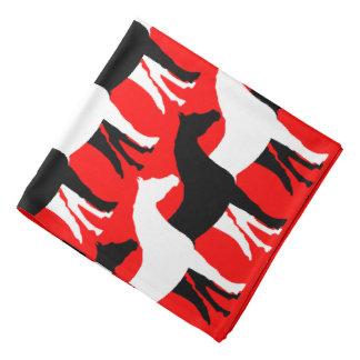 White, Black Horses/Red Background Bandana