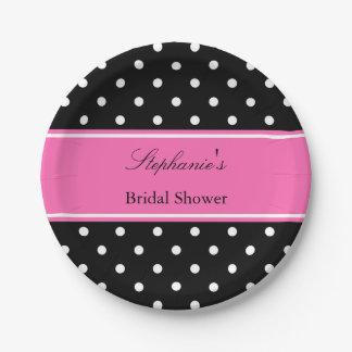 White Black, Hot Pink Polka Dot Bridal Shower 7 Inch Paper Plate