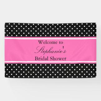 White Black, Hot Pink Polka Dot Bridal Shower Banner