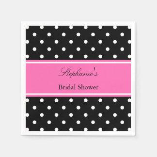 White Black, Hot Pink Polka Dot Bridal Shower Napkin