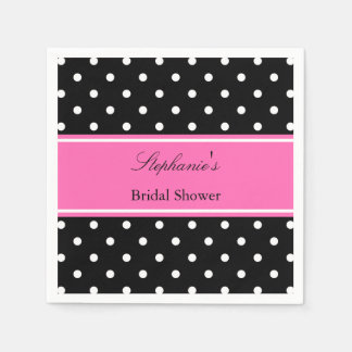 White Black, Hot Pink Polka Dot Bridal Shower Standard Cocktail Napkin