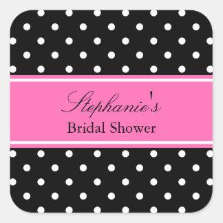 White Black, Hot Pink Polka Dot Bridal Shower Square Sticker