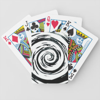 White & Black Hypnotic Swirl Art Bicycle Playing Cards