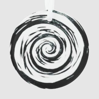 White & Black Hypnotic Swirl Art Ornament