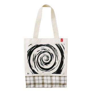 White & Black Hypnotic Swirl Art Zazzle HEART Tote Bag
