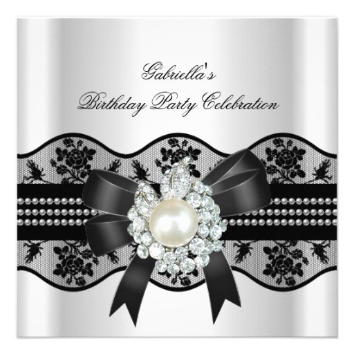 White Black Lace Pearl Elegant Birthday Party Custom Invitations
