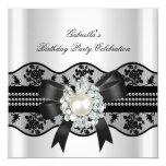 White Black Lace Pearl Elegant Birthday Party 5.25x5.25 Square Paper Invitation Card