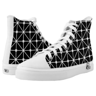 White Black Lattice Pattern High-Top Sneakers