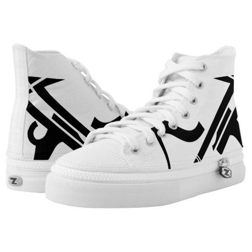 White & Black Leverage III Custom Designer Hi-Top
