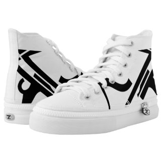 White & Black Leverage III Custom Designer Hi-Top Printed Shoes