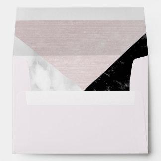 White Black Marble Collage Pink Silk Envelope