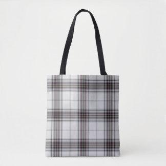 White Black Maroon Red Tartan Plaid Tote Bag