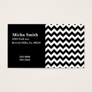 White & Black Modern Chevron Monogram Business Card