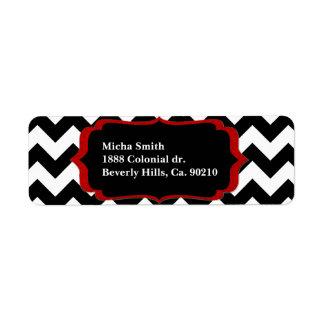 White & Black Modern Chevron Monogram Return Address Label