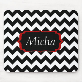 White & Black Modern Chevron Monogram Mouse Pad