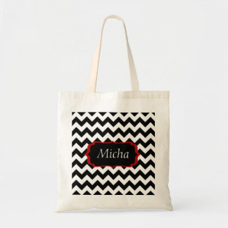 White & Black Modern Chevron Monogram Tote Bags