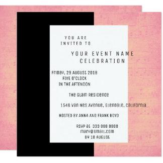 White Black Music Notes Concert Rose Gold Salmon Card