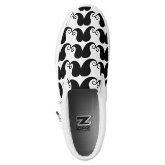 White & Black Mustache Slip on Shoes Printed Shoes