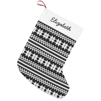 White Black Nordic Christmas Sweater Pattern Small Christmas Stocking