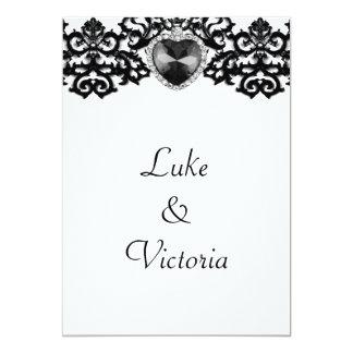 White & Black Ornate Heart Pendant Wedding Card