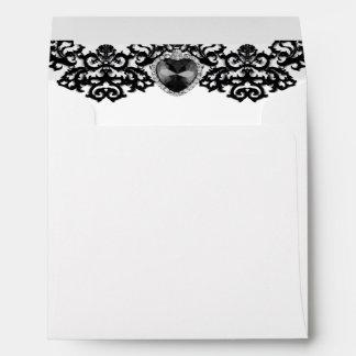 White & Black Ornate Heart Pendant Wedding Envelope