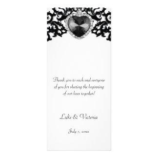 White & Black Ornate Heart Pendant Wedding Custom Rack Card