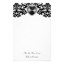 White & Black Ornate Heart Pendant Wedding Stationery