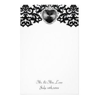 White & Black Ornate Heart Pendant Wedding Stationery