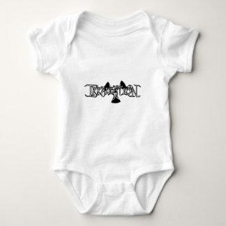 White, Black Outline Baby Bodysuit