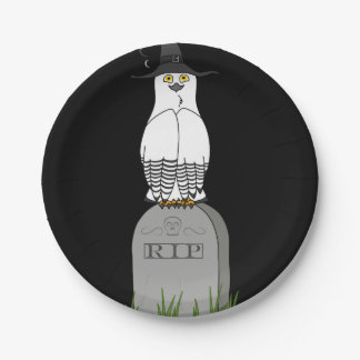 White & Black Owl on RIP Grave Stone 7 Inch Paper Plate