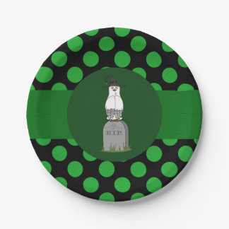 White & Black Owl Witch with Grave & Green Dots 7 Inch Paper Plate
