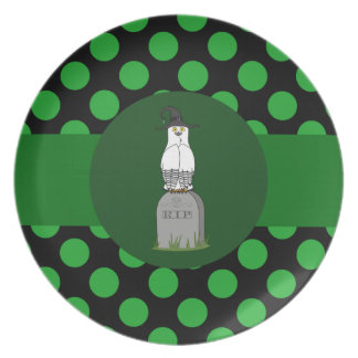 White & Black Owl Witch with Grave & Green Dots Plates