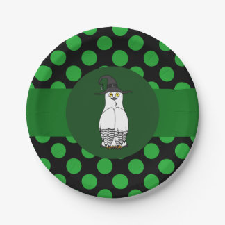 White & Black Owl Witch with Green Dots 7 Inch Paper Plate