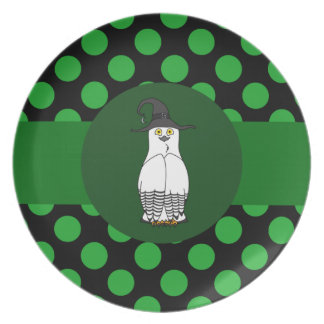 White & Black Owl Witch with Green Dots Plate