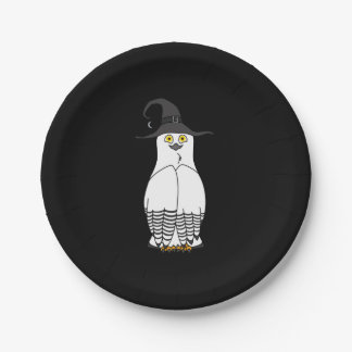 White & Black Owl with Halloween Witch Hat 7 Inch Paper Plate