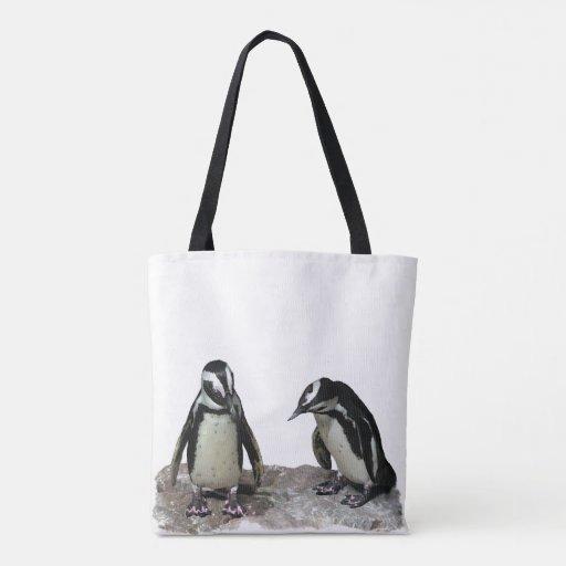 White Black Penguin Birds Animal Tote Bag