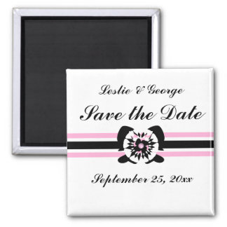 White, black, pink, Floral bow Save the Date 2 Inch Square Magnet