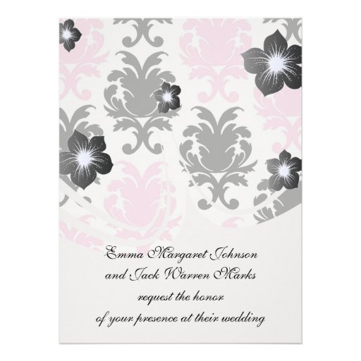 white black pink lovely bold damask announcements
