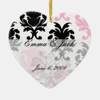 white black pink lovely bold damask ceramic ornament