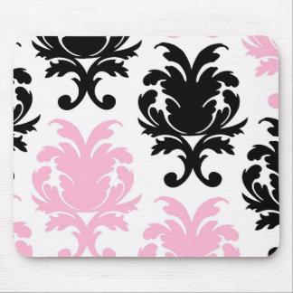 white black pink lovely bold damask mouse pad