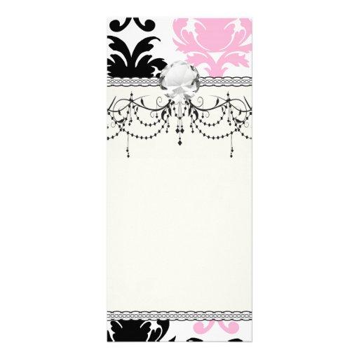 white black pink lovely bold damask full color rack card