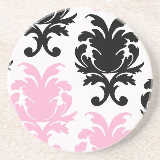 white black pink lovely bold damask sandstone coaster