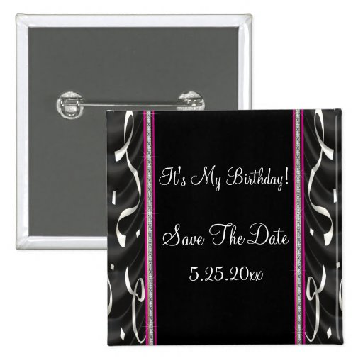 White Black Pink Party Streamers Date Saver 2 Inch Square Button