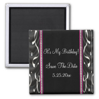 White Black Pink Party Streamers Save Date 2 Inch Square Magnet